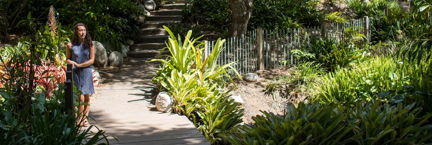 Kristen Choi in a garden